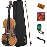 Eastar Full Size 4/4 Violin Set EVA-3 Matte Fiddle for Kids Beginners Students Adults with Hard Case, Rosin, Shoulder Rest, B