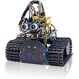 KEYESTUDIO Mini Tank Robot Smart Car Upgraded V2.0, Light Follow, Ultrasonic Follow, Ultrasonic Avoiding, Infrared Remote Con