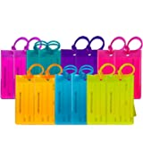 14 Pack TravelMore Luggage Tags For Suitcases, Flexible Silicone Travel ID Identifier Labels Set For Bags & Baggage - Multi C