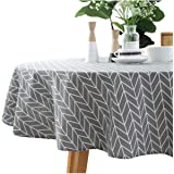 Cotton Linen Tablecloth Grey Arrow Round Table Cover for Dining Kitchen Home Tabletop Decoration, Round - 48 Inch