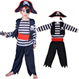 Children's Pirate Costume for Toddlers Boys Girls Halloween Pirate Costume Set Including Pirate Suit Pirate Hat Eye Patche