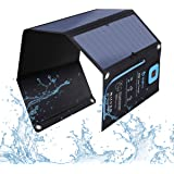 BigBlue 5V 28W Solar Charger with Digital Ammeter Waterproof Foldable Dual USB Ports Solar Battery Charger for iPhone 8/X/7/6