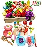 木玩社のままごと 知育玩具 天然木 お肉&お魚&果物&食器セット 積み木 組み立て 切る遊び 木製おもちゃ 食器ボックス…