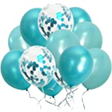 Turquoise Balloons Metallic Confetti Teal Balloons for Engagement Bachelorette Party Decorations Supplies(Turquoise Teal Conf