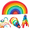 WOOD CITY Rainbow Stacking Toys, 12-Piece Double Natural Wooden Rainbow Stacker, Waldorf & Montessori Toys for Toddlers, Colo