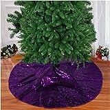 Christmas Tree Skirt Purple Sequin Tree Skirt Xmas Pine Tree Ornaments 24-Inch Artificial Christmas Pine Tree Skirt Holiday D