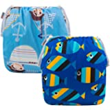 ALVABABY Swim Nappies Diapers for Baby Boys Reuseable Adjustable Swim Diaper Large Size 2 Pack Baby Gifts 0-3 Years Old ZSW03