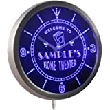 ncph-tm Home Theater Personalized Your Name Bar Beer Sign Neon LED Wall Clock