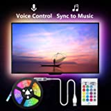 Led Strip Lights Music Sync, 2m USB LED TV Backlight Kit with Remote for 40-60in TV,16 Color Changing 5050 LEDs Bias Lighting