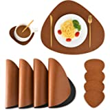 SUBEKYU Faux Leather Placemats and Coasters Set, Washable Table Mat, Waterproof Coffee Mats, Heat-Resistant Place Mat for Kit