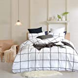 Wellboo White Plaid Duvet Cover Cotton Grid Checkered Bedding Cover Sets King Adult Women Men Quilt Covers Large Plaid Black