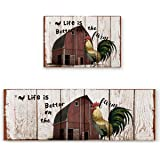 wanxinfu 2 Piece Kitchen Mat Set, Rooster in Front of a Vintage Barn Retro Wood Background Soft Non-Slip Rubber Backing Floor