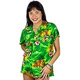 V.H.O King Kameha Funky Hawaiian Shirt Blouse Women Shortsleeve Frontpocket Hawaiian-Print Leaves Flowers Allover