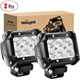 "NI2 Nilight Led Light Bar 2PCS 18w 4"" Flood Driving Fog Light Off Road Lights Boat Lights Driving Lights Led Work Light SUV J"