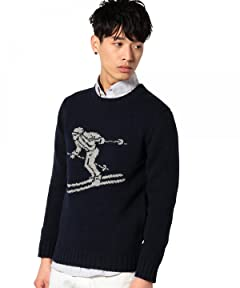 Intarsia Skier Pattern 3-Gauge Wool Crewneck Sweater 3213-105-0379: Navy
