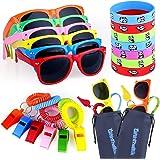 48pcs Party Favors for Kids, Goody Bag Stuffers in Bulk - 12 Kids Sunglasses, 12 Whistles, 12 Bracelets, 12 Goody Bags, Pool