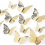 AIEX 24pcs 3D Butterfly Wall Stickers 3 Sizes Butterfly Wall Decals Room Wall Decoration for Bedroom Party Wedding Decors(Gol