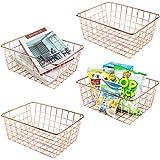 4 PCS Metal Wire Baskets with Handles, Storage Organizer Bins for Pantry, Cabinet, Kitchen, Refrigerator, Bathroom, Garage, L