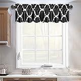 Melodieux Moroccan Fashion Room Darkening Rod Pocket Window Curtain Valance, 52 by 18 Inch, Black (1 Panel)