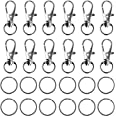 100PCS Metal Lobster Claw Clasps Trigger Clips Swivel Lanyard Snap Hooks with Key Chain Rings for Crafts, DIY, Jewelry Findin
