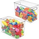 mDesign Plastic Storage Organizer, Holder Bin Box with Handles - for Cube Furniture Shelving Organization for Closet, Kid's B