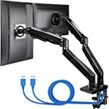 """ErGear 22-35"""" Premium Dual Monitor Stand Mount, Ultrawide Computer Screen Desk Mount w/Full Motion Gas Spring Arm, Height/Til"""