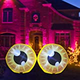 GOOSH 4 Feet Length Halloween Inflatable Double Yellow Cute Eyeballs Build-in White Bright LED Lights Blow Up Inflatables for