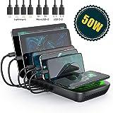 SEENDA 充電スタンド 5ポート同時充電 Qiワイヤレス充電器付き 充電ステーション 収納 充電 iPhone/iPod/iPad/Android/タブレット対応【3種類 充電ケーブル付属】第二世代 …