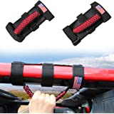 Sukemichi Roll Bar Paracord Grab Handles Grip Handles for Jeep Wrangler JK TJ JL CJ YJ 1987-2020 JT UTV ATV, Flag (Red)