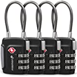 Fosmon TSA Approved Cable Luggage Locks, (4 Pack) Re-settable Easy to Read 3 Digit Combination with Alloy Body and Release Bu