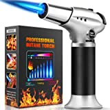 Culinary Butane Torch , Kitchen Refillable Butane Blow Torch with Safety Lock and Adjustable Flame for Crafts Cooking BBQ Bak