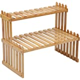"14.6""/18.5"" 2 Tiers Bamboo Plant Stand Shelf,Desk Flower Pot Holder,Adjustable Desktop Shelf Display Organizer Ladder Rack fo"