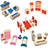 Giragaer 5 Set Colorful Wooden Doll House Furniture, Wood Miniature Bathroom/ Living Room/ Dining Room/ Bedroom/ Kitchen Hous