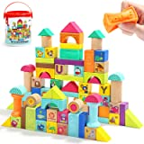 Wooden Building Blocks for Toddlers 1-3,Baby Blocks for 1 Year Old 80 Piece