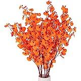 HANTAJANSS Artificial Flowers, 8 Pcs Orchids Silk Fake Flowers in Bulk Flowers Artificial for Indoor Outdoor Wedding Home Off
