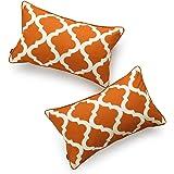 """Hofdeco Decorative Lumbar Pillow Cover Indoor Outdoor Water Resistant Canvas Maple Orange Moroccan Quatrefoil 12""""x20"""" Set of"""
