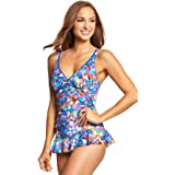 Profile by Gottex Women's D-Cup Printed V-Neck Swimdress One Piece Swimsuit, via Veneto Multi