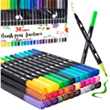 Dual Tip Brush Marker Pens 34 Color, Fine Point Brush Coloring Markers & Journal Planer Pen Set for Calligraphy, Coloring Boo