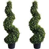 Damomo 3ft (2 Pieces) Topiary Trees Boxwood Artificial Plants Spiral Feaux Plants Potted Plant Green Decorative Indoor or Out