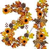 2 Pack Fall Maple Leaf Garland - 6ft/Piece Artificial Berries Sunflower Pumpkin Autumn Garland Decoration for Wedding Party T