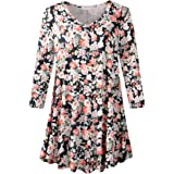LARACE Tunics 3/4 Sleeve Plus Size Tops for Women V Neck Loose Fit Flowy Clothing for Leggings