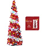 TURNMEON 5 Feet Tinsel Pre-lit Christmas Tree with 50 Color Lights, Pop up Christmas Tree Battery Operated 2 Modes Sequin Bal