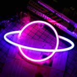 Blue/Pink Neon Light Signs Planet Neon Light Led Signs Wall Decor, Battery or USB Operated Planet Lamp Neon Lights Light up f