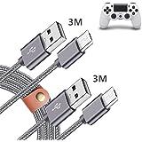PS4 コントローラー 充電 ケーブル 3M+3M 2本,Sony PS4 Pro/Slim Dualshock 4/DS4,XBOX ONE S/X Controller 対応 Micro usb/マイクロ usbケーブル ゲーム機 充電器 コード