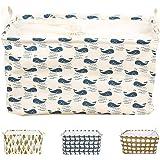 BUYUE 収納ボックス 33Lの大容量 綿麻製 ランドリー バスケット 折り畳み式 巾着 幅44×奥行30×高さ25cm (クジラ)