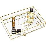 CHICHIC Gold Mirror Tray Jewelry Organizer Vanity Tray Jewelry Tray Perfume Tray Dresser Tray Decorative Tray, Glass Metal Ma