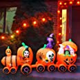 SEASONBLOW 9 Ft Halloween Inflatable Pumpkin Train with Ghost Witch Cat Decoration Blow up Decor for Lawn Patio Indoor Outdoo