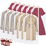 Perber Hanging Garment Bags Clear Suit Bag (Set of 12) Lightweight Dust-Proof Clothes Cover Bags with Full Zipper for Closet