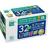 エコリカ エプソン(Epson)対応 リサイクル インクカートリッジ IC4CL32 4個パック (目印:ヒマワリ) ECI-E324P/BOX