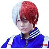 FantaLook Short Half White Half Red Cosplay Wig